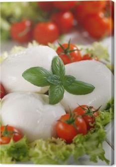 Obraz na płótnie Włoski buffalo mozzarella z pomidorami cherry