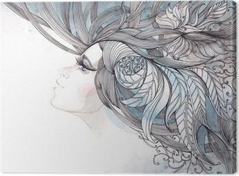Obraz na płótnie Włosy ozdobną z liści