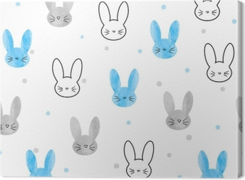 Obraz na płótnie Wzór króliczek bez szwu. tło wektor z królików niebieski i szary.