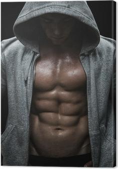 Obraz na płótnie Zamknij się z mięśni człowieka ciężarów po treningu sportowego