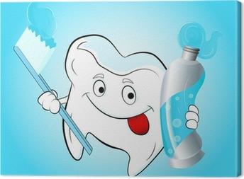 Obraz na płótnie Zębów z szczoteczka do zębów i pasta do zębów