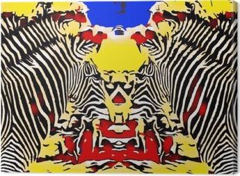 Obraz na płótnie Zebry rysowania i malowania z czerwonym kolorem żółtym i niebieskim tle