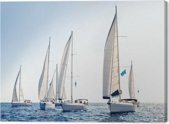 Obraz na płótnie Żeglarstwo jachty z białymi żaglami statku