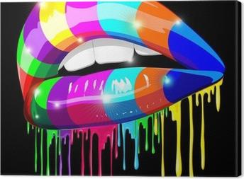 Obraz na płótnie Zmysłowe Usta Sensual Psychedelic Psychedelic Paint-Mouth