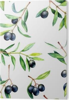 Obraz na PVC Bezproblémové vzorek s olivové ratolesti. Ručně tažené akvarel ilustrace.