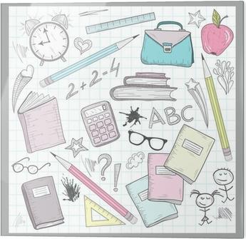 7c9badae48a21 Plakat Elementy Przybory szkolne na podszyciem Sketchbook papieru tła •  Pixers® • Żyjemy by zmieniać