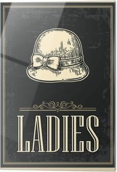 Obraz na szkle Toaleta retro grunge plakatu. Damski. Vector vintage grawerowane ilustracji na czarnym tle. Dla barów, restauracji, kawiarni, pubów