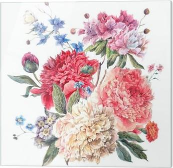 Obraz na szkle Vintage Floral Greeting Card z kwitnących Piwonie