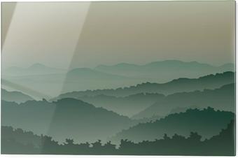 Obraz na szkle Zielone góry we mgle