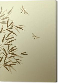 Obrazy premium Bamboo z ważek w chińskim stylu malarstwa