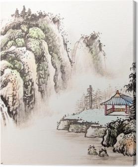 Obrazy premium Chiński krajobraz akwarela painting__