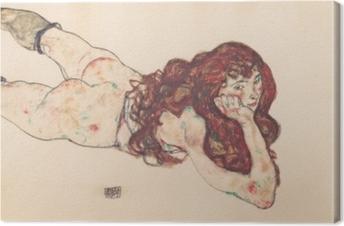 Obrazy premium Egon Schiele - Leżąca kobieta