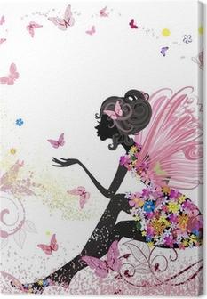 Obrazy premium Flower Fairy w otoczeniu motyli