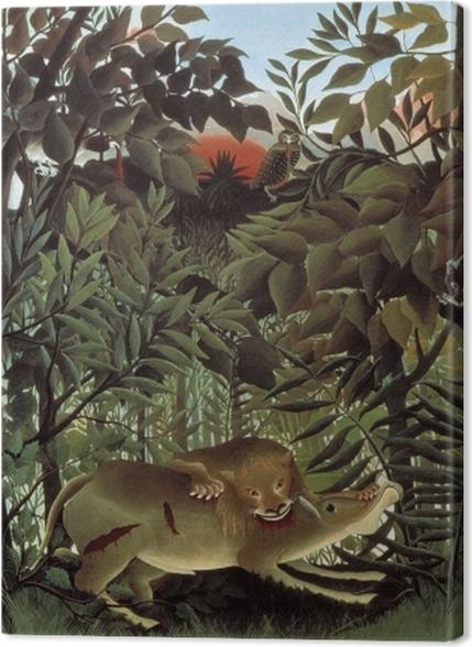 Obrazy premium Henri Rousseau - Lew, zgłodniawszy, rzuca się na antylopę - Reprodukcje