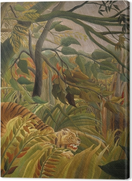 Obrazy premium Henri Rousseau - Tygrys podczas burzy tropikalnej (zaskoczony) - Reprodukcje
