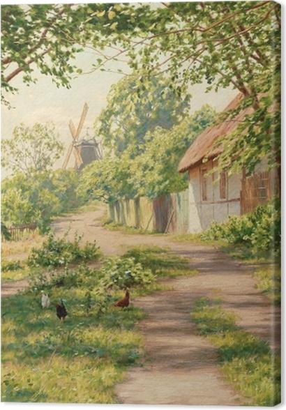 Obrazy premium Johan Krouthén - Letni pejzaż w wiatrakiem - Reproductions