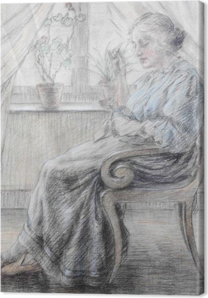 Obrazy premium Leo Gestel - Kobieta z robótką - Reproductions