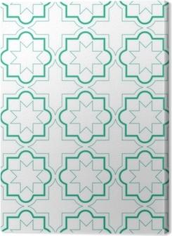 Obrazy premium Marokański wzór geometryczny płytki, wektor wzór płytki, zielone i białe tło