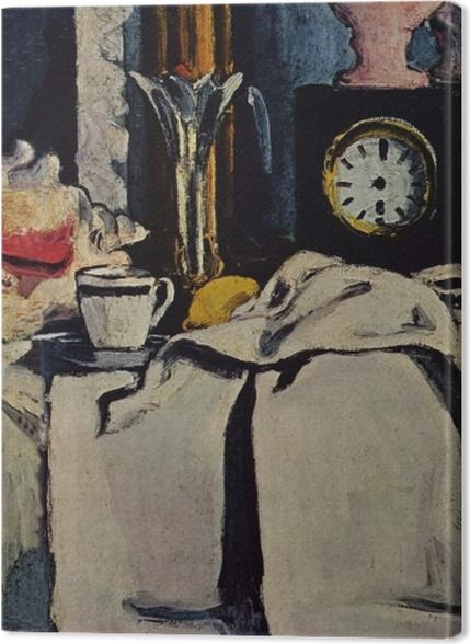 Obrazy premium Paul Cézanne - Martwa natura z czarnym zegarem - Reprodukcje
