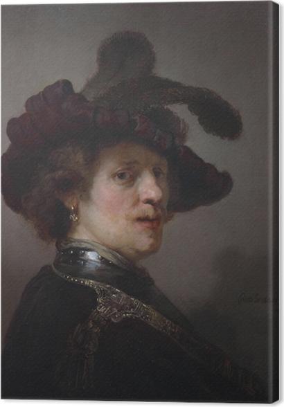 Obrazy premium Rembrandt - Autoportret w kapeluszu z piórem - Reprodukcje