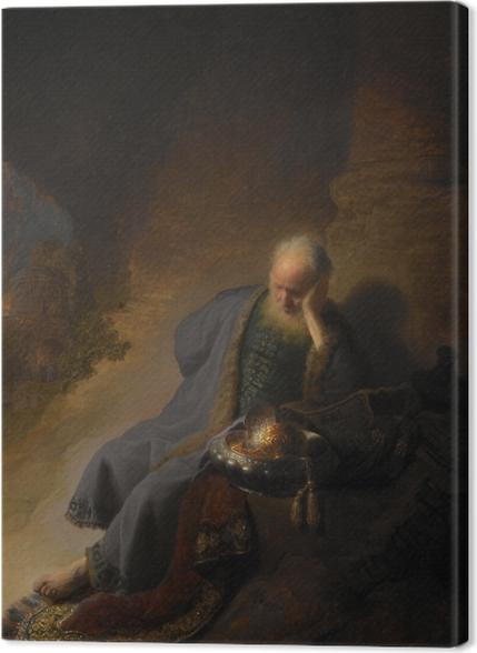 Obrazy premium Rembrandt - Jeremiasz opłakujący zburzenie Jerozolimy - Reprodukcje