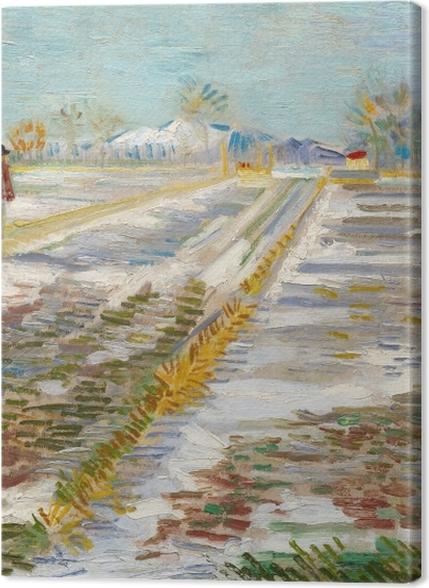 Obrazy premium Vincent van Gogh - Krajobraz ze śniegiem - Reproductions