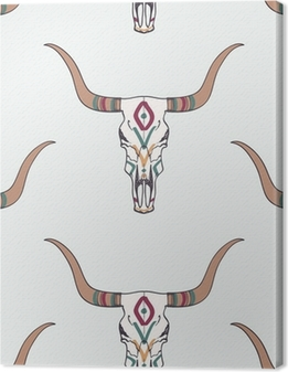 Obrazy premium Wektor bez szwu deseń z byka czaszki i etniczne ozdoby