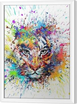 Rámovaný obraz na plátně Яркий фон с тигром