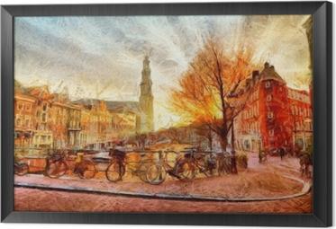 Rámovaný obraz na plátně Amsterdamský kanál při večerním impresionistickém malování