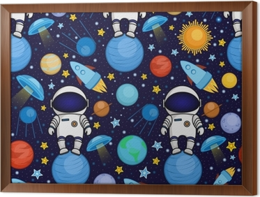 Fototapeta Barevne Bezesve Kresleny Vesmirny Vzor S Astronauty