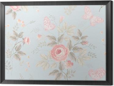 Obraz v Rámu Bezešvé květinový vzor s růžemi a motýly