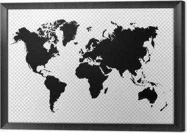 Obraz v Rámu Černá silueta samostatný mapa světa EPS10 vektorový soubor.