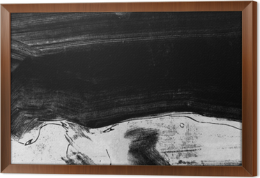 Rámovaný obraz na plátně Černé a bílé ručně malované pozadí textury s grunge štětcem tahy