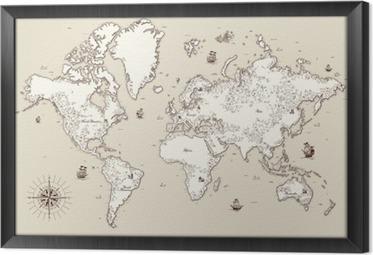 Obraz v Rámu Detailní, staré mapy s vysokým svět s ozdobnými prvky