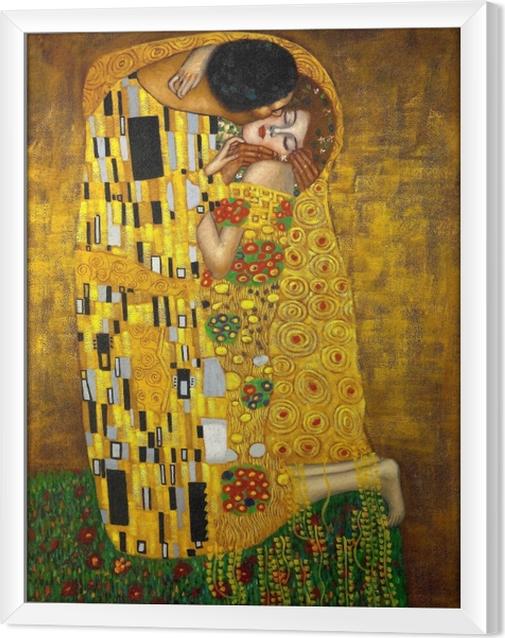 Rámovaný obraz na plátně Gustav Klimt - Polibek - Reprodukce