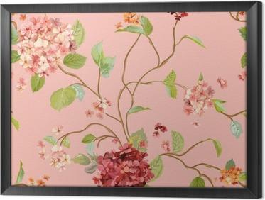 Obraz v Rámu Klasické Flowers - Floral Hortensia pozadí - bezešvé vzor