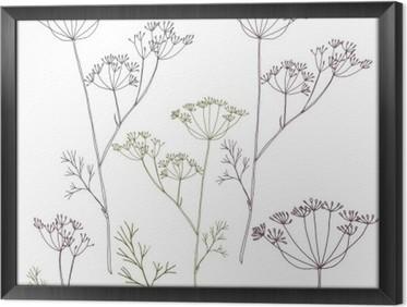 Obraz v Rámu Kopru nebo fenyklu květy a listy.