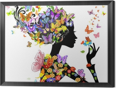 Obraz v Rámu Květy dívka módní s motýly