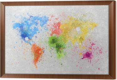 Obraz v Rámu Mapa světa malba
