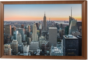 Rámovaný obraz na plátně New York Skyline při západu slunce