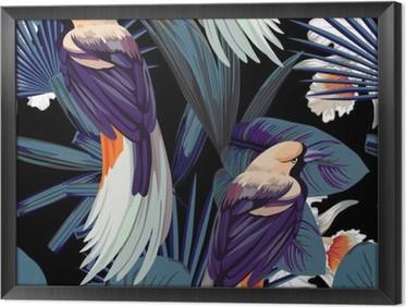 Obraz v Rámu Ptáci, orchideje a noční jungle bezešvé pozadí