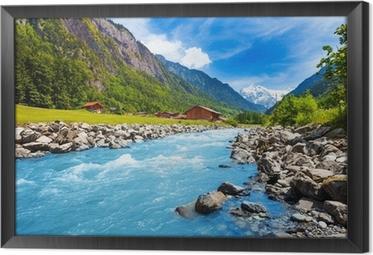 Obraz v Rámu Švýcarská krajina s řekou proudu a domy