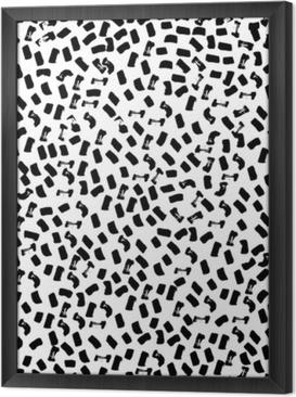 Rámovaný obraz na plátně Vektorové bezešvé vzor moderní štětec místo. ručně tažené ryté vinobraní ilustrace.