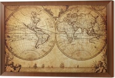 Obraz v Rámu Vintage mapa světa 1733