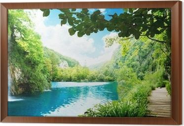 Obraz v Rámu Vodopád v hlubokém lese