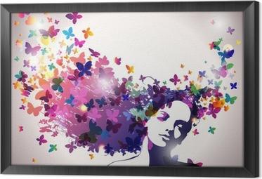 Obraz v Rámu Žena s motýly ve vlasech.