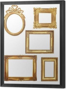 Obraz na płótnie w ramie 5 starych złotych drewniane ramki na białym tle
