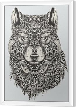 Obraz na płótnie w ramie Bardzo szczegółowe streszczenie ilustracji wilka