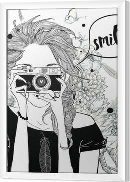 Obraz na płótnie w ramie Dziewczynka Cute cartoon