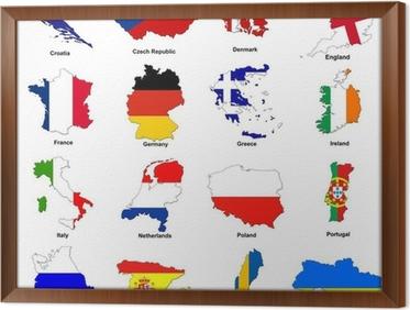 Obraz Na Plotnie Euro 2012 Mistrzostwa Europy Mapy Flag Pixers